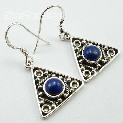"""STAMPED 925"" Solid Silver Sparkling LAPIS LAZULI ANTIQUE LOOK Earrings 1.3"""
