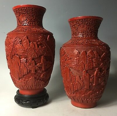 Republic Era Pair of Vintage Antique Chinese Carved Cinnabar Lacquer Vases