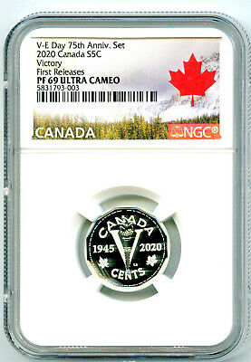 2020 Canada 5 Cent Silver Proof Victory V-E Day Nickel Ngc Pf69 First Releases
