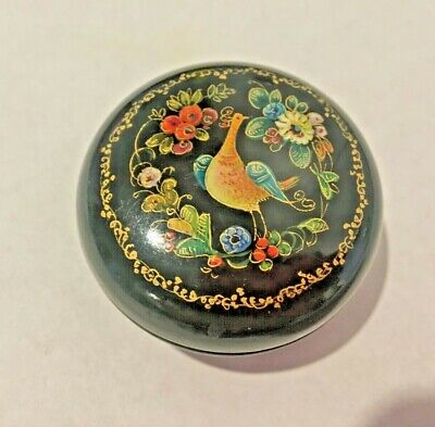 Russian Lacquer Ware  Box Vintage Hand Painted Palekh Bird Flowers Ussr Label