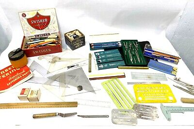 Vintage Drafting Tool Lot-Dietzen-K&E, Staedtler, Tru-Point-Turquoise and More!!
