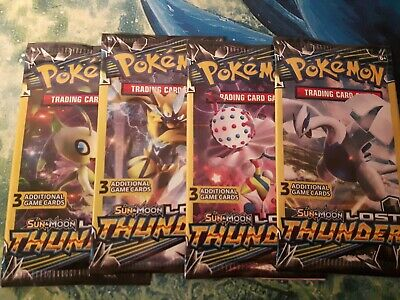 X4 Sun & Moon: Lost Thunder - 3 Card Sealed Booster Pack - POKEMON - TCG