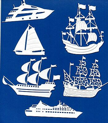16  NEW AIRPLANE DIE CUTS MEN DAD TATTERED LACE SILHOUETTE WHITE TOPPER