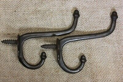 2 old Coat Hooks school farm house rustic 1880's vintage iron antique twist in