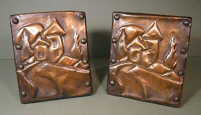 1930s Art Deco Bookends, Hammered Copper, Handmade