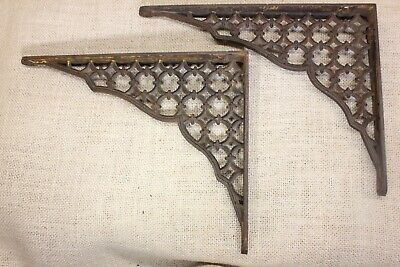 "2 Shelf brackets 7"" X 9"" old rustic cast iron lattice cleaned vintage 1880's"