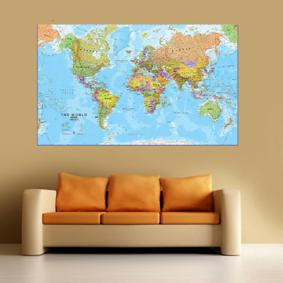 World map Large Poster Wall Art Print Deco Home - Sections A0 A1 A2 A3 A4