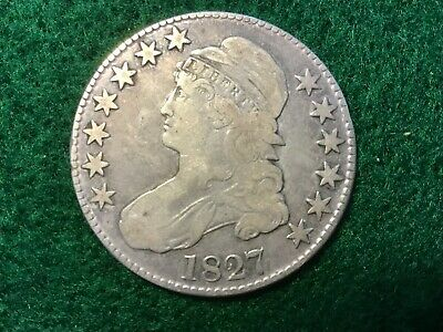 LOT #1590 BUST HALF DOLLAR 1827 in  very good  condition square base 2