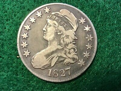 LOT #1594 BUST HALF DOLLAR 1827 in  very fine condition square base 2
