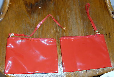 "ESTEE LAUDER Red ""PATENT LEATHER"" COSMETIC MAKEUP BAG Wristlet Zip Pull Unsnaps"
