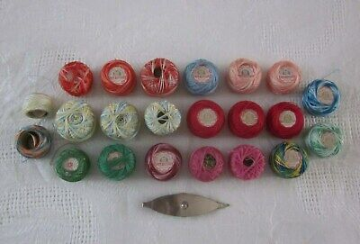 Vintage Tatting Crochet Variegated and Solid Thread Lot with Metal Shuttle