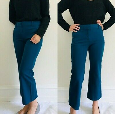 J. Crew Women's Teddie Pants Size 0 Blue Crop Flare Dress Pants E8366