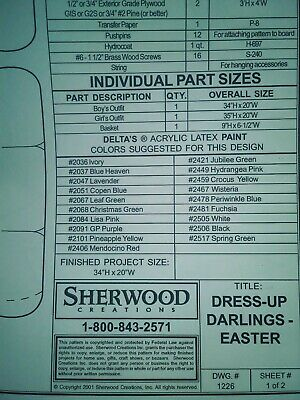 Dress up darlings easter outfit Yard Art pattern Sherwood Creations packet