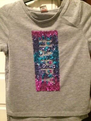 Girls Light Grey Sparkly Sequined T-shirt Age 7 Years