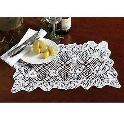 "SET/4 White Crocheted PLACEMATS SALE 13"" x 19"" DELUXE REG $40 NEW N PKG Doilies"