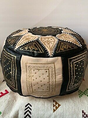 Handmade Moroccan POUF Genuine Leather Pouffe Ottoman Footstool 6 Colors Availab