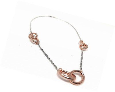 Sterling Silver Chain with Three Rose Gold-Plated Double-Loops