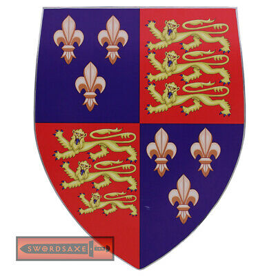 English Royal Quadrant Design Coat of Arms Medieval Wood Country Display Shield