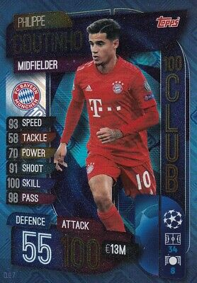 Match Attax EXTRA 2019/20 19/20 #CLU7 Phillipe Coutinho (Bayern Munchen 100 CLUB