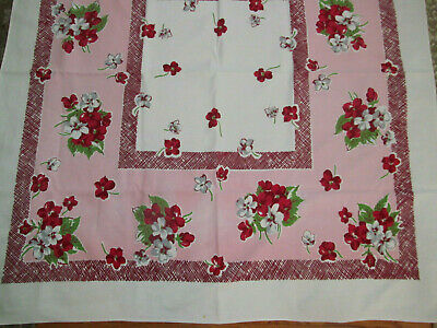 Bright Floral Cotton Print Tablecloth~Pink Border w/Red White Flower Clusters