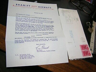 1956 Braniff Airways First Silver Service Flight Cover & Letter Southwest to NY