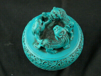 Special Chinese Blue Hand Carved Box W/*3Foo Dogs* Cover Q014
