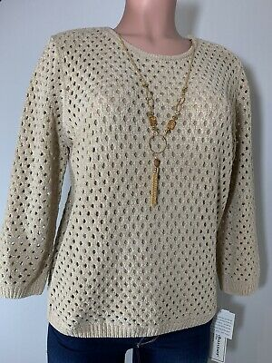 alfred dunner Women's Top Shirt Sweater Lined Long Sleeve  Size PM