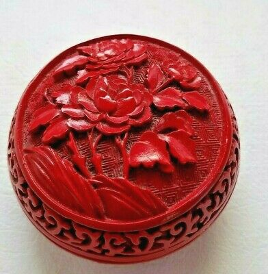 """Antique Chinese Cinnabar Round Ink Box Carved LacquerExcellent Carving 3.5"""""""