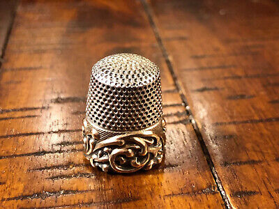 "Antique Ketcham & McDougall Gold Band Sterling Silver Thimble  ""Scroll""  C1890s"