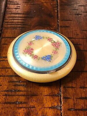 Vintage Finberg FMCO Guilloche Enamel Compact  Powder Mirror Flowers