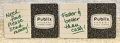 Lot of 2 Publix Supermarkets Student Spend & Parent Fill 2013 Gift Cards
