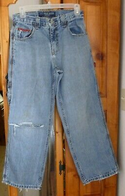 U.S. POLO ASSN. Lt Wash Blue CARPENTER JEANS Distressed Ripped  27 X 27 size 14