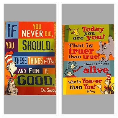 Today You are You! 2 Sided Dr. Seuss Quotation Decorative Sign Poster 8.5x12.5""
