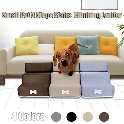UK Easy 3 Steps Dog Stairs For High Bed Pet Cat Ramp Ladder With Removable Top