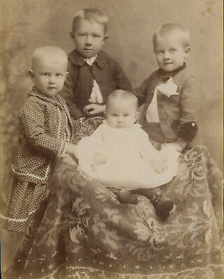 Antique Photo Cabinet Card CUTE LITTLE BOYS IN DRESS BABY FASHION by BRITTINGHAM