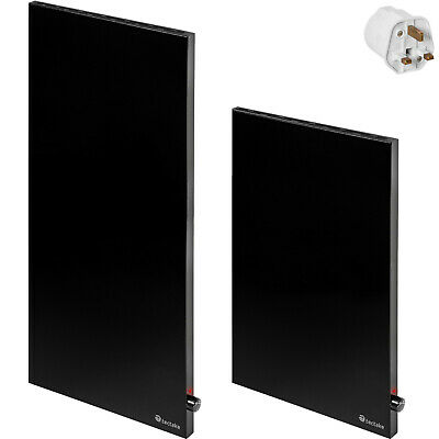 Heating Panel Infrared IR Hybrid Heater IP20 Vertical Thermostat UK Plug Black