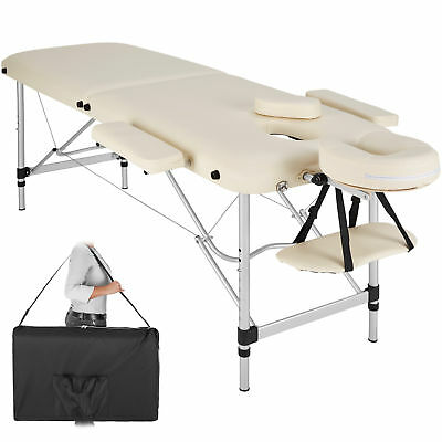Lightweight Portable Aluminium Massage Table Bench Therapy Beauty beige + Bag