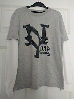 Boys Aged 10-11 Years Old Grey / White Gap Long Sleeved Top
