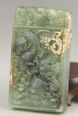 Chinese old natural jade hand-carved statue fish and flower pendant 3.2 inch