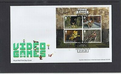 GB 2020 Video Games MS Royal Mail FDC First Day Cover Lara Croft Way Derby sp pk