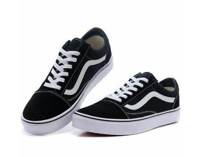 Van s Old Skool Skate Shoes Black/White All Size Classic Canvas Sneakers UK3-UK9