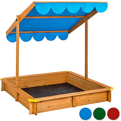 Sandbox with adjustable roof sun protection outdoor games wooden sand pit new