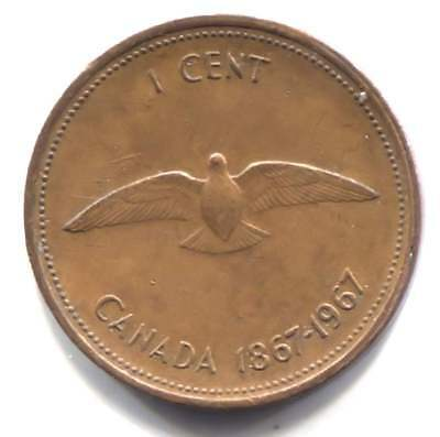 1967 Canadian Centennial One Cent Coin - Canada Penny - Queen Elizabeth II