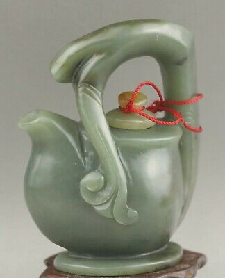 Chinese old natural hetian jade hand-carved statue wine pot tea pot 3.4 inch
