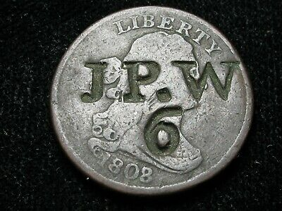 1808 * Draped Bust * Counter Stamped Half Cent * J P . W 6 *