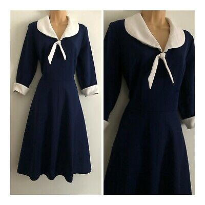 Vintage 70's Navy Blue & White Short Sleeve Fit & Flare Swing Day Dress Size 12