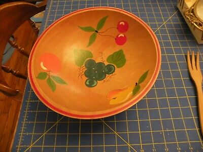 """Wooden Atq SALAD Bowl 11"""" Hand Turned FRUIT Hand-painted BALL FEET PEAR CHERRIES"""