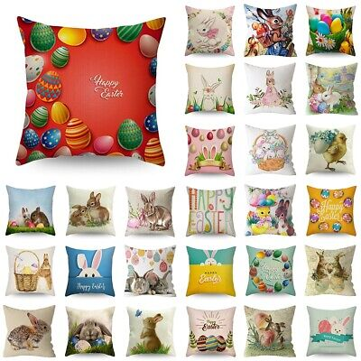 """18"""" Spring Easter Pillow Covers Cases Decorative Cushion Sofa Rabbit Bunny Egg"""