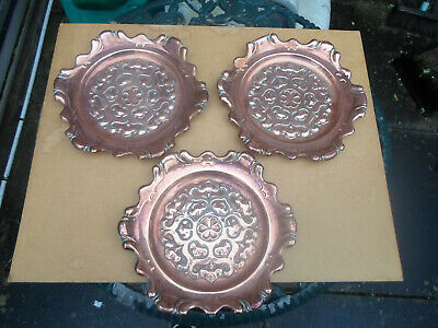 Art Nouveau / Arts and Crafts Copper Plates / Wall Plates x 3