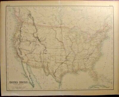Extremely Rare Map Of The United States North America 1855 Frameable Genuine